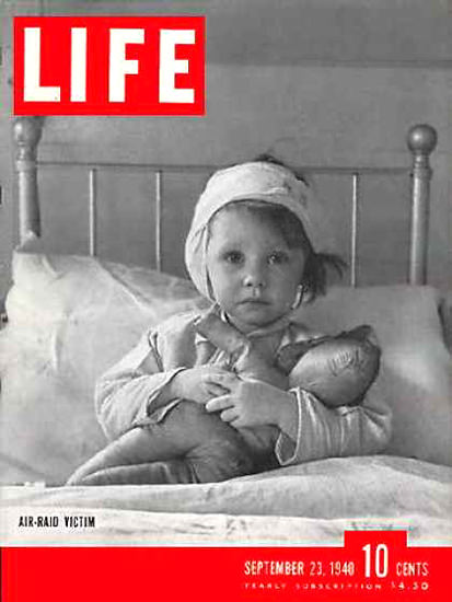 Life Magazine Cover Copyright 1940 Air Raid Victim | Vintage Ad and Cover Art 1891-1970