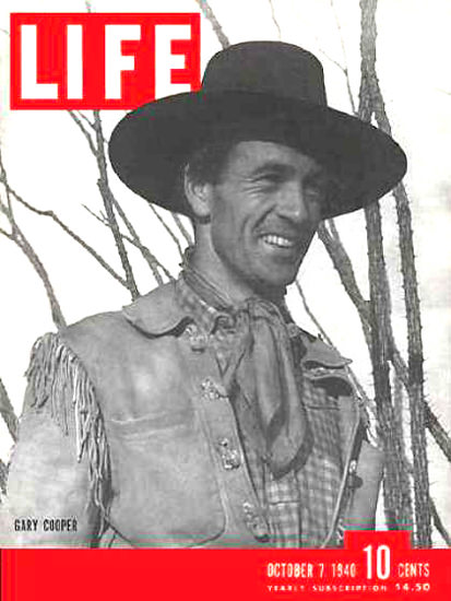 Life Magazine Cover Copyright 1940 Gary Cooper   Sex Appeal Vintage Ads and Covers 1891-1970