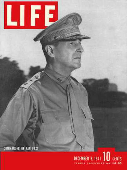 Life Magazine Cover Copyright 1941 General MacArthur | Vintage Ad and Cover Art 1891-1970