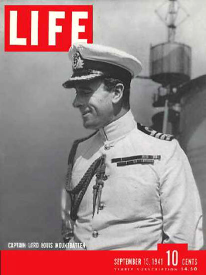 Life Magazine Cover Copyright 1941 Lord Mountbatten | Vintage Ad and Cover Art 1891-1970