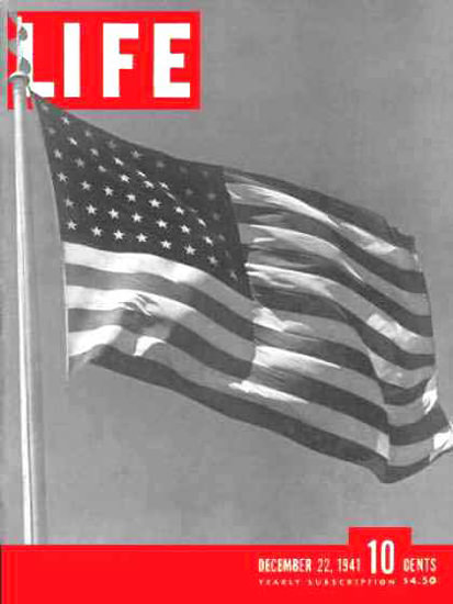 Life Magazine Cover Copyright 1941 US Goes To War Flag | Vintage Ad and Cover Art 1891-1970