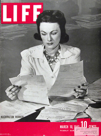 Life Magazine Cover Copyright 1941 Washington Worker | Vintage Ad and Cover Art 1891-1970