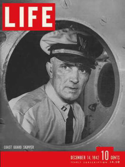 Life Magazine Cover Copyright 1942 Coast Guard Skipper | Vintage Ad and Cover Art 1891-1970