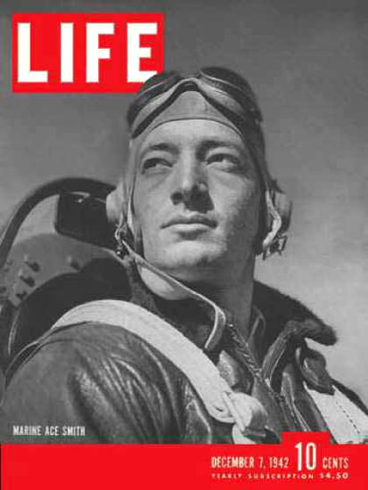 Life Magazine Cover Copyright 1942 Marine Ace Smith | Vintage Ad and Cover Art 1891-1970