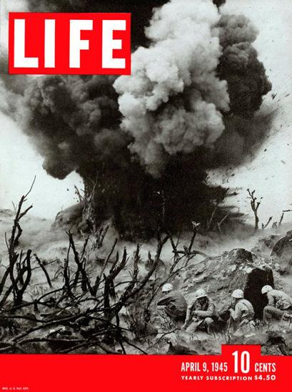 Life Magazine Cover Copyright 1945  Iwo Jima Detonation | Vintage Ad and Cover Art 1891-1970