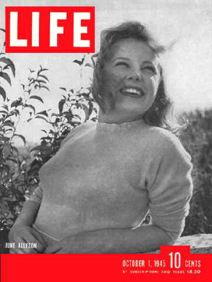 Life Magazine Cover Copyright 1945 June Allyson | Sex Appeal Vintage Ads and Covers 1891-1970