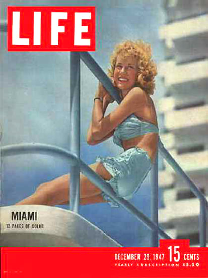 Life Magazine Cover Copyright 1947 Pretty Girl In Miami | Sex Appeal Vintage Ads and Covers 1891-1970