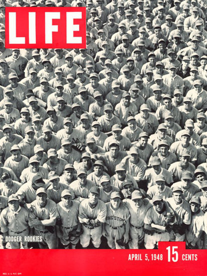 Life Magazine Cover Copyright 1948 Dodger Rookies | Vintage Ad and Cover Art 1891-1970