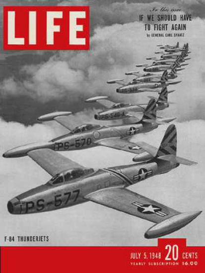 Life Magazine Cover Copyright 1948 F-84 Thunderjets | Vintage Ad and Cover Art 1891-1970
