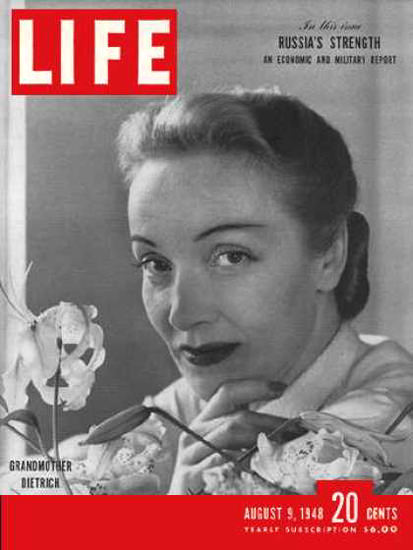 Life Magazine Cover Copyright 1948 Marlene Dietrich | Sex Appeal Vintage Ads and Covers 1891-1970