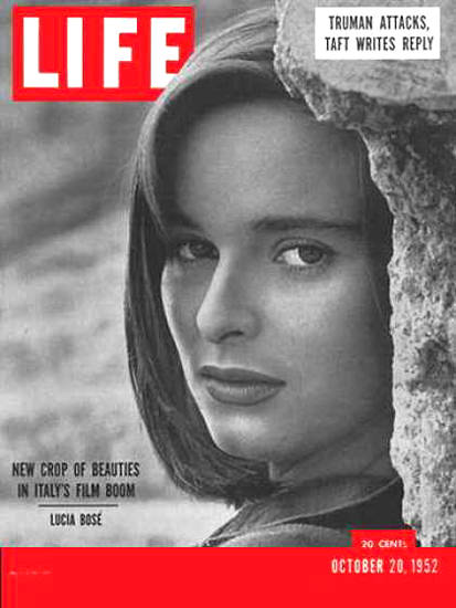 Life Magazine Cover Copyright 1952 Italian Films Lucia Bose | Sex Appeal Vintage Ads and Covers 1891-1970