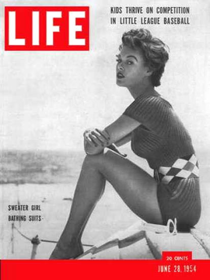 Life Magazine Cover Copyright 1954 Sweater Girl Swim Suits   Sex Appeal Vintage Ads and Covers 1891-1970