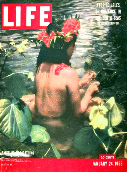 Life Magazine Cover Copyright 1955 Tahitian Girl Bathing | Sex Appeal Vintage Ads and Covers 1891-1970