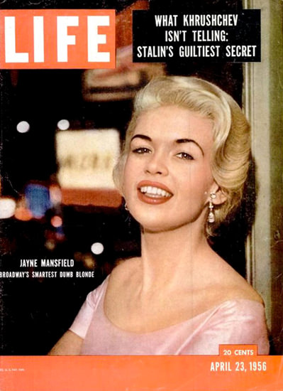 Life Magazine Cover Copyright 1956 Jayne Mansfield | Sex Appeal Vintage Ads and Covers 1891-1970