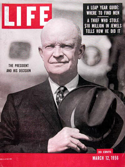 Life Magazine Cover Copyright 1956 President Eisenhower | Vintage Ad and Cover Art 1891-1970