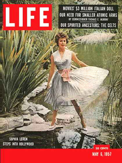 Life Magazine Cover Copyright 1957 Sophia Loren | Sex Appeal Vintage Ads and Covers 1891-1970