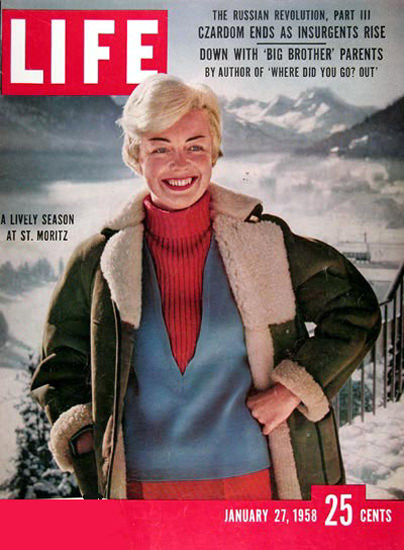 Life Magazine Cover Copyright 1958 St Moritz Switzerland | Vintage Ad and Cover Art 1891-1970