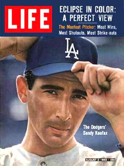 Life Magazine Cover Copyright 1963 Sandy Koufax