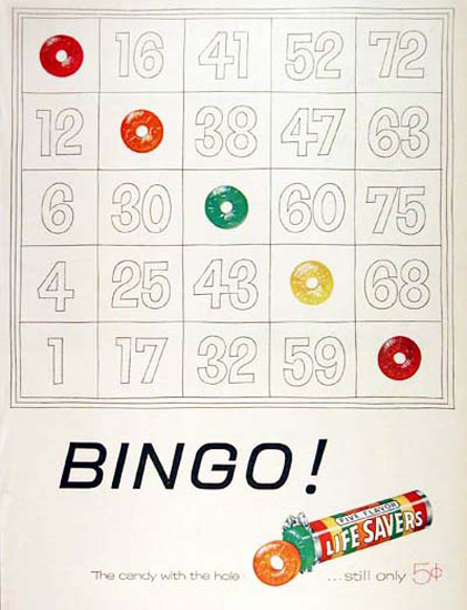 Life Safers 1955 Bingo | Vintage Ad and Cover Art 1891-1970