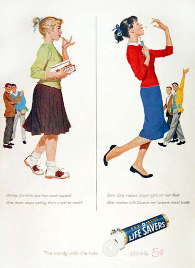 Life Savers 1957 Diet Admired Girl | Vintage Ad and Cover Art 1891-1970