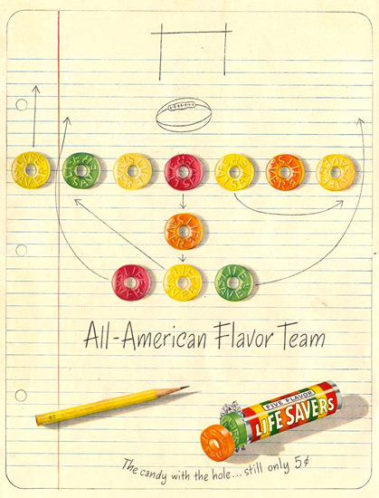 Life Savers All-American Flavor Team NFL 1948 | Vintage Ad and Cover Art 1891-1970