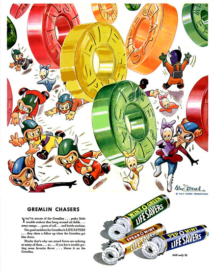 Life Savers Candy 1943 Gremlin Chasers Disney   Vintage Ad and Cover Art 1891-1970