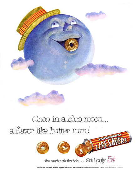 Life Savers Candy Blue Moon 1954 | Vintage Ad and Cover Art 1891-1970