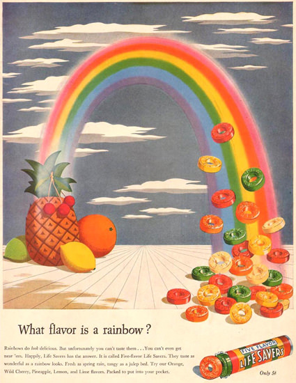 Life Savers What Flavor Is A Rainbow 1944   Vintage Ad and Cover Art 1891-1970