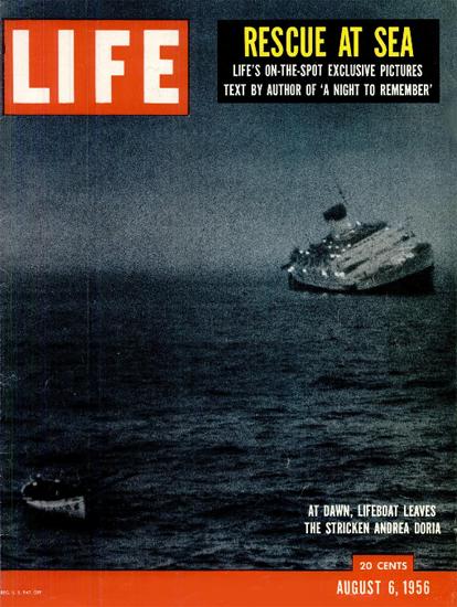 Lifeboat leaves Andrea Doria 6 Aug 1956 Copyright Life Magazine   Life Magazine Color Photo Covers 1937-1970