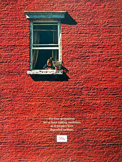 Lilly Pharmaceutical 1969 Red Wall Small Window | Vintage Ad and Cover Art 1891-1970