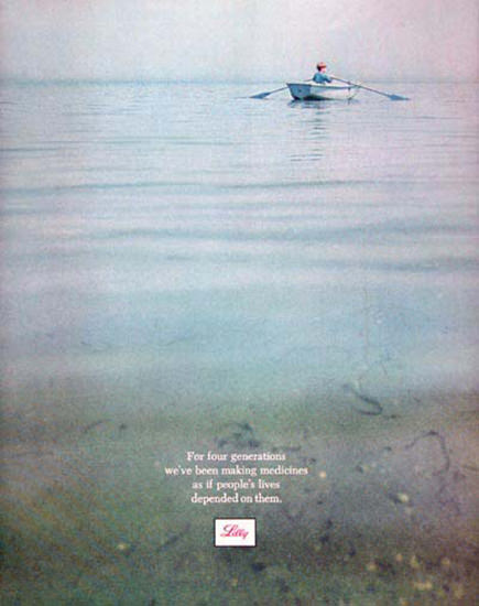 Lilly Pharmaceutical 1969 Rowboat On Lake Boy | Vintage Ad and Cover Art 1891-1970