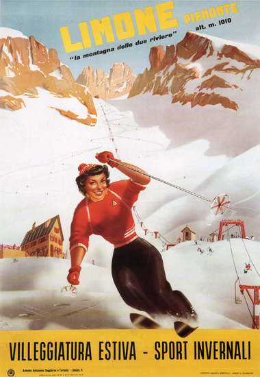 Limone Piemonte Skiing Italy Italia | Sex Appeal Vintage Ads and Covers 1891-1970