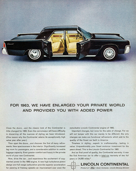 Lincoln Continental 1963 Enlarged Your World | Vintage Cars 1891-1970