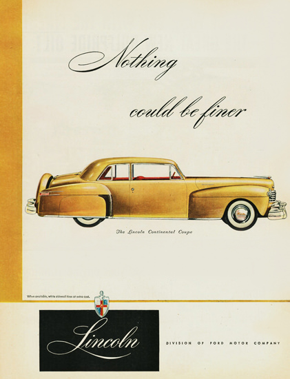 Lincoln Continental Coupe 1947 Yellow | Vintage Cars 1891-1970