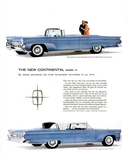 Lincoln Continental Mark III 1958 Blue | Vintage Cars 1891-1970
