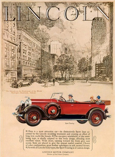 Lincoln Motor Company Automobile Down Town   Vintage Cars 1891-1970