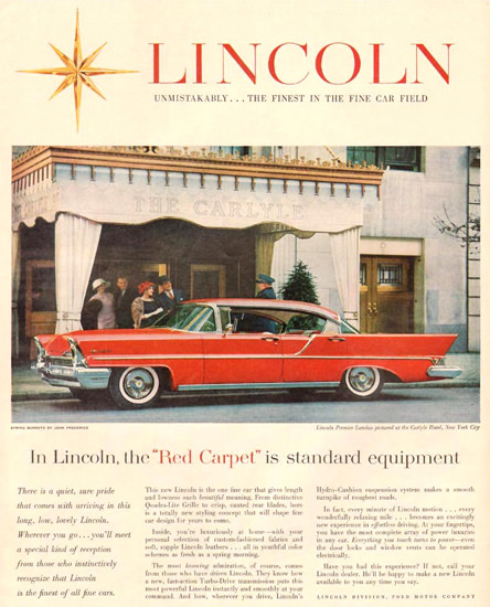 Lincoln Premier Landau Carlyle Hotel NY 1957 | Vintage Cars 1891-1970