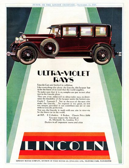 Lincoln Sedan Ultra Violet 40 HP 8 Cyl 1928 | Vintage Cars 1891-1970