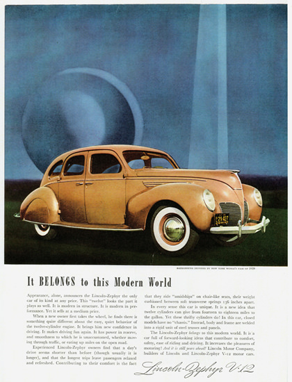 Lincoln Zephyr Sedan 1938 Modern World | Vintage Cars 1891-1970