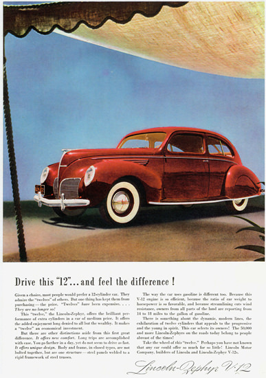 Lincoln Zephyr V12 Coupe Sedan 1938 | Vintage Cars 1891-1970
