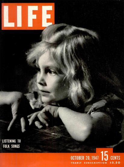 Listening to Folk Songs 20 Oct 1947 Copyright Life Magazine | Life Magazine BW Photo Covers 1936-1970