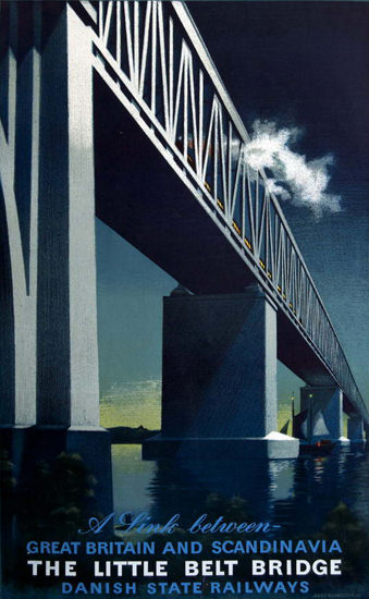 Little Belt Bridge Link Between Great Britain 1951 | Vintage Travel Posters 1891-1970