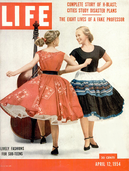Lively Fashions for Sub-Teens 12 Apr 1954 Copyright Life Magazine | Life Magazine Color Photo Covers 1937-1970