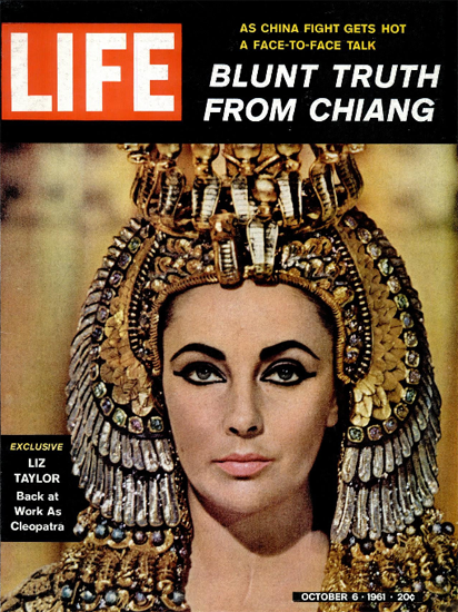 Liz Taylor as Cleopatra 6 Oct 1961 Copyright Life Magazine | Life Magazine Color Photo Covers 1937-1970