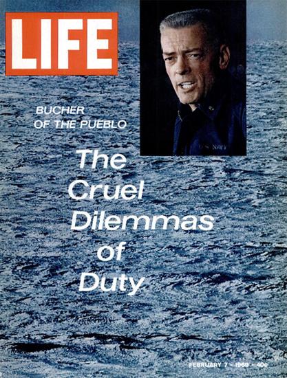 Lloyd M Bucher Captain USS Pueblo 7 Feb 1969 Copyright Life Magazine | Life Magazine Color Photo Covers 1937-1970