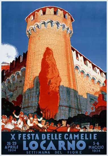 Locarno X Festa Delle Camelie Del Fiore Switzerland 1934 | Vintage Travel Posters 1891-1970