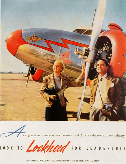 Lockheed Aircraft Look For Leadership 1939 | Vintage Travel Posters 1891-1970