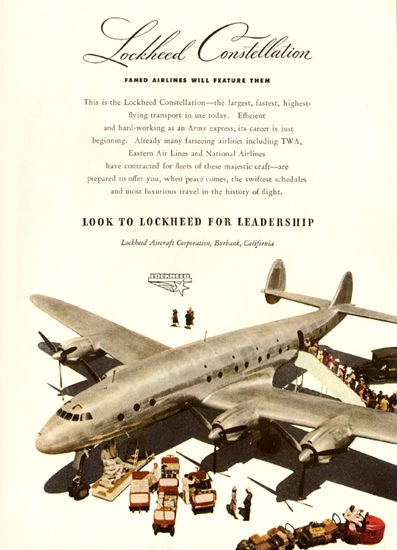 Lockheed Constellation 1945 Famed Airlines | Vintage Travel Posters 1891-1970