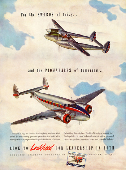 Lockheed For The Swords Of Today 1941 | Vintage War Propaganda Posters 1891-1970