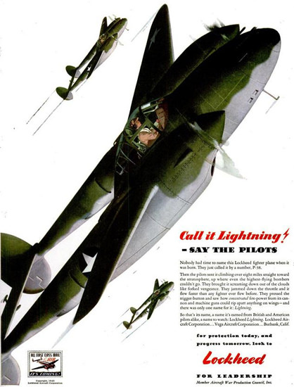 Lockheed P-38 Lighting Call It Lightning 1940s | Vintage War Propaganda Posters 1891-1970